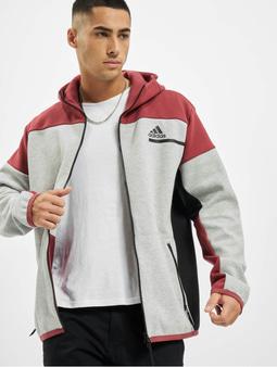 Adidas Originals ZNE Full Zip Hoody Medium Grey Heather/Legacy Red
