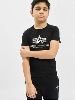 Alpha Industries Basic T-Shirt Foil Print Kids/Teens Black/Metalsilvern