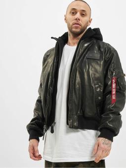 Alpha Industries MA-1 D-Tec FL Leather Jacket Black/Black (M