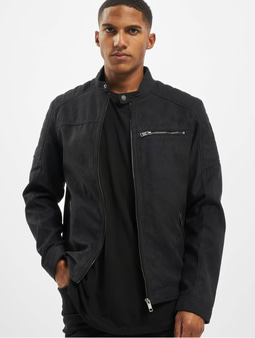 Jack & Jones jjeRocky Noos Leather Jacket Jet Black/Pattern Fake Suede