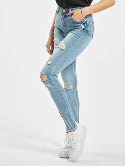 Missguided Authentic Rip Wash Skinny High Waist Jeans Blue