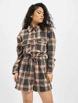 Missguided Brushed Flannel LS Check Playsuit Blush