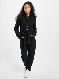 Missguided Button Through Denim Black Jumpsuit Black