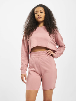 Missguided Co-Ord Cycling Short Sweat Set Top Pink