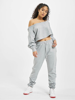 Missguided Coord Off The Shoulder Sweatshirt & Sweat Pants Grey Marl