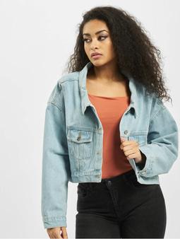 Missguided Drop Hem Oversized Denim Jacket Light Blue