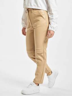 Missguided Faux Leather Cigarette Cargo Pants Stone