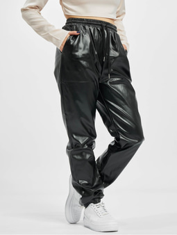 Missguided Faux Leather Sweat Pants Black