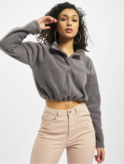Missguided Fleece High Neck Crop Co-Ord Top Grey