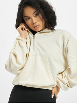 Missguided Half Zip Kangroo Pocket Sweatshirt Ivory