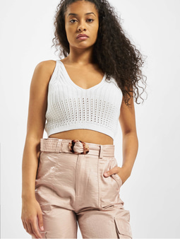 Missguided Knitted V Neck Crop Top White
