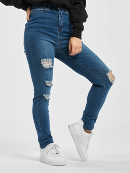 Missguided Mg X Assets Distress Sinner Skinny Jeans Blue
