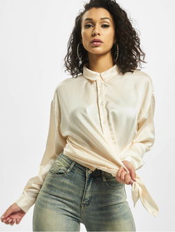 Missguided Nude Satin Shirt Nude
