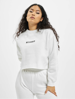 Missguided Petite Branded Cropped Sweatshirt White