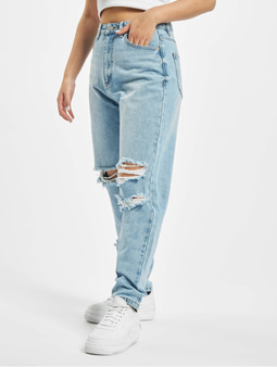 Missguided Petite Knee Rip Riot Mom Jeans Blue