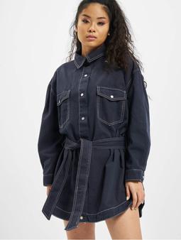 Missguided Petite Oversized Denim Shirt Dress Deep Blue