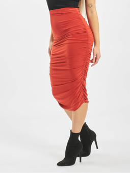Missguided Petite Slinky Rouched Midi Skirt Red