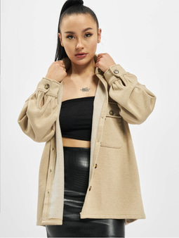 Missguided Petite Soft Shacket Shirt Beige