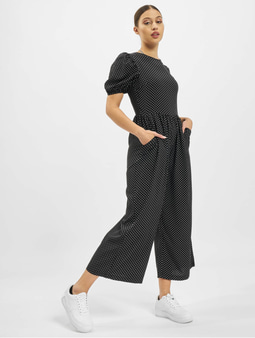 Missguided Polka Lace Up Puff Culotte Jumpsuit Black