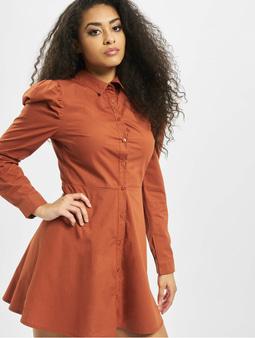 Missguided Puff Sleeve Skater Shirt Dress Rust