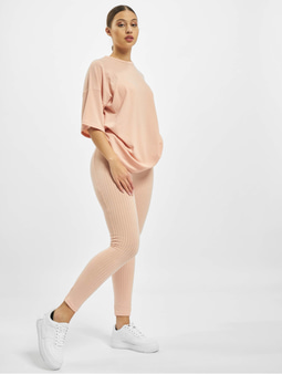 Missguided Ribbed Oversized T Shirt & Leggings Dusky Pink