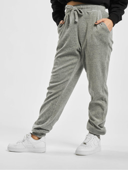Missguided Ribbed Velour Lounge Jogger Sweat Pants Grey