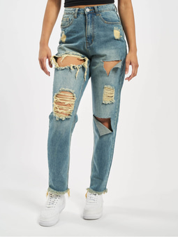 Missguided Riot High Rise Ripped Mom Jeans Blue
