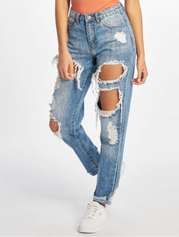 Missguided Riot High Waist Jeans Rise Ripped Blue