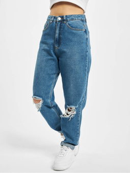Missguided Riot Highwaisted Busted Knee Mom Jeans Blue