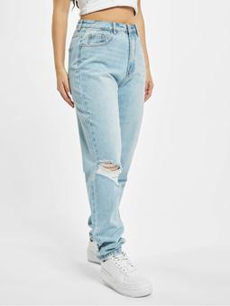 Missguided Riot Highwaisted Thigh Slash Mom Jeans Light Blue