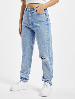 Missguided Riot Single Busted Knee Mom Jeans Blue