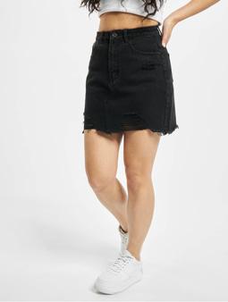 Missguided Ripped A Line Key Shout Denim Skirt Black