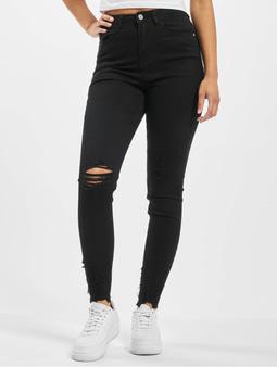 Missguided Sinner Highwaisted Destroyed Hem Skinny Jeans Black