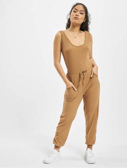 Missguided Sleeveless Tie Waist Rib Jogger Jumpsuit Camel