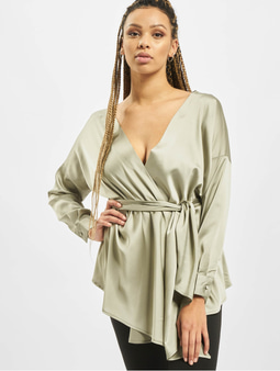 Missguided Tall Oversized Plunge Tie Waist Blouse Green