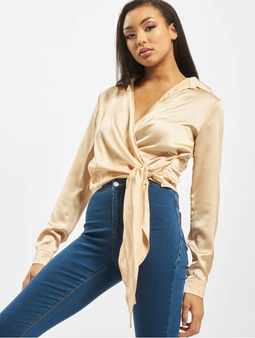 Missguided Tall Satin Tie Side Blouse Golden