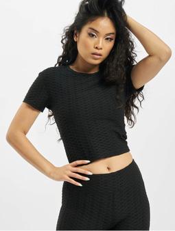 Missguided Textured Cut & Sew T-Shirt Black