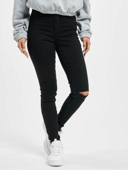 Missguided Vice Highwaisted Slash Knee Skinny Jeans Black
