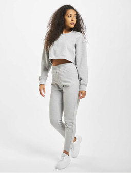 Missguided Zip Crop Sweat And Slim Line Pants Grey