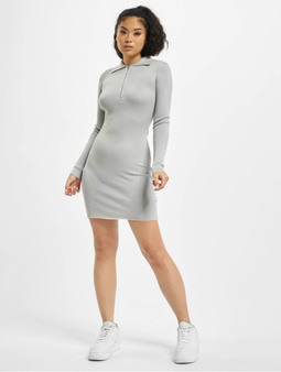 Missguided Zip Front Collar Ribbed Mini Dress Grey