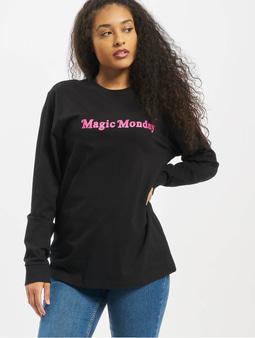Mister Tee Ladies Magic Monday Slogan Longsleeve Black
