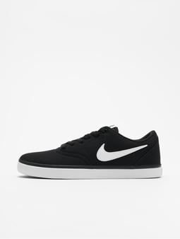 Nike SB Check Solarsoft Canvas Skateboarding Sneakers Black/White