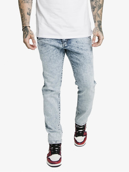 Sik Silk Cut Recycled Denim Straight Fit Jeans Light Blue