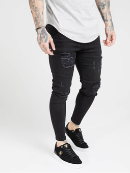 Sik Silk Distresed Skinny Jeans Black