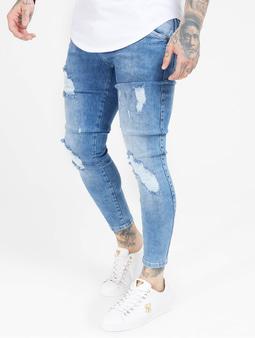 Sik Silk Distresed Skinny Jeans Midwash