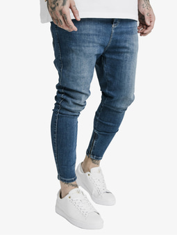 Sik Silk Drop Crotch Straight Fit Jeans Midstone Blue
