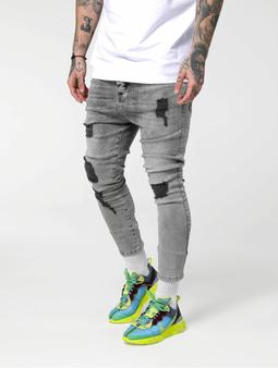 Sik Silk Drop Crotch Ultra Skinny Jeans Snow Wash