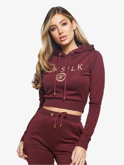 Sik Silk Eyelet Mesh Track Top Jacket Burgundy