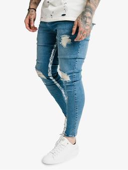 Sik Silk Skinny Distressed Paint Stripe Skinny Jeans Midstone/White