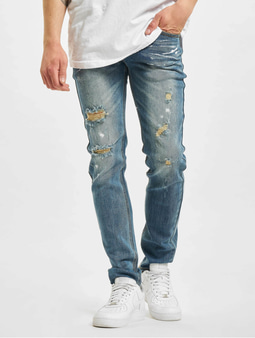 Sixth June Destroyed Washed Slim Fit Jeans Blue